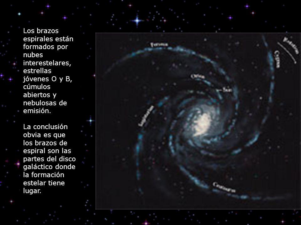 Los brazos espirales están formados por nubes interestelares, estrellas jóvenes O y B, cúmulos abiertos y nebulosas de emisión.