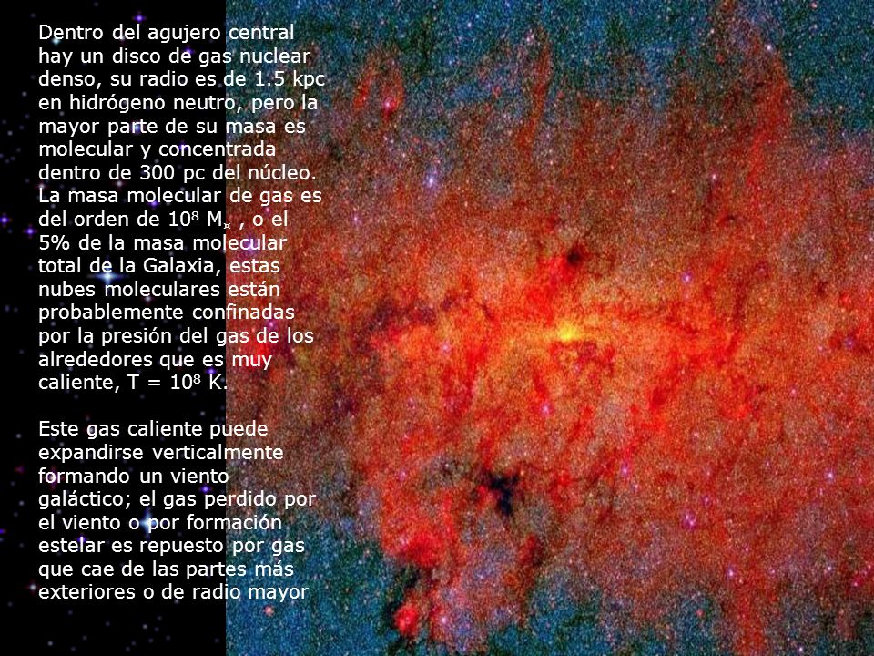 Dentro del agujero central hay un disco de gas nuclear denso, su radio es de 1.5 kpc en hidrógeno neutro, pero la mayor parte de su masa es molecular y concentrada dentro de 300 pc del núcleo. La masa molecular de gas es del orden de 108 M¤ , o el 5% de la masa molecular total de la Galaxia, estas nubes moleculares están probablemente confinadas por la presión del gas de los alrededores que es muy caliente, T = 108 K.