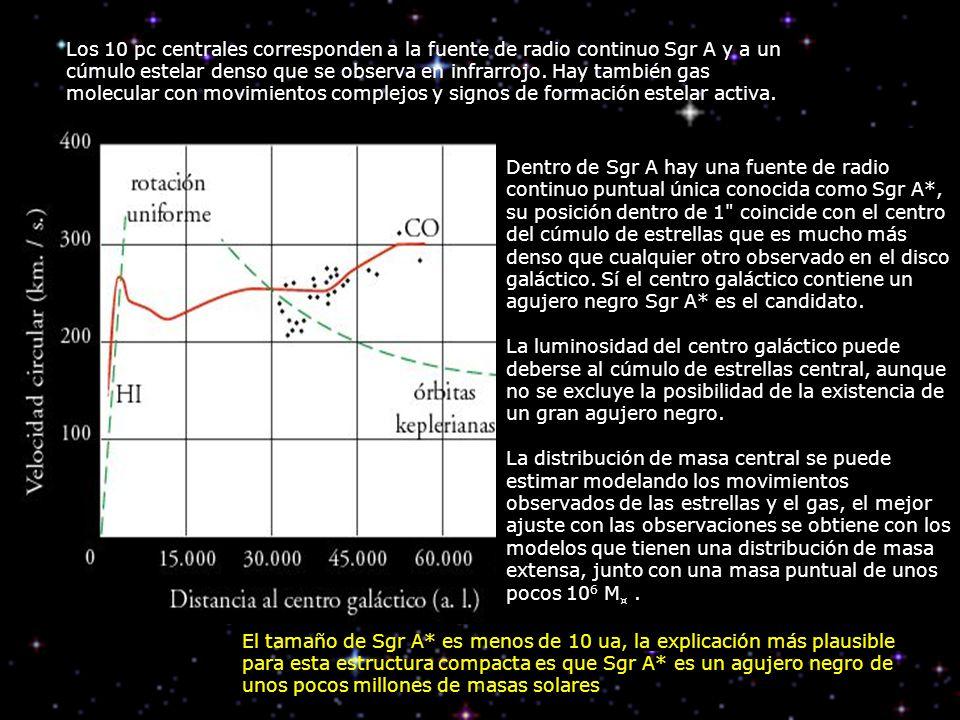 Los 10 pc centrales corresponden a la fuente de radio continuo Sgr A y a un cúmulo estelar denso que se observa en infrarrojo. Hay también gas molecular con movimientos complejos y signos de formación estelar activa.
