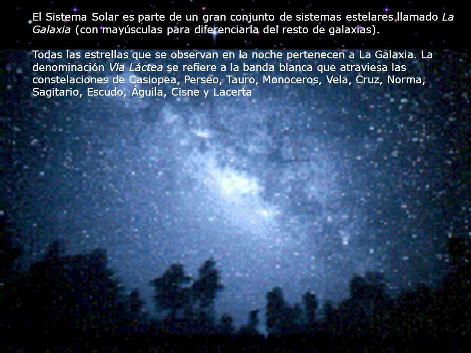 El Sistema Solar es parte de un gran conjunto de sistemas estelares llamado La Galaxia (con mayúsculas para diferenciarla del resto de galaxias).
