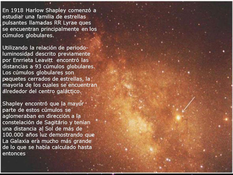 En 1918 Harlow Shapley comenzó a estudiar una familia de estrellas pulsantes llamadas RR Lyrae ques se encuentran principalmente en los cúmulos globulares.