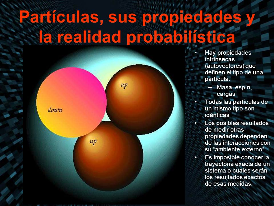 Partículas, sus propiedades y la realidad probabilística