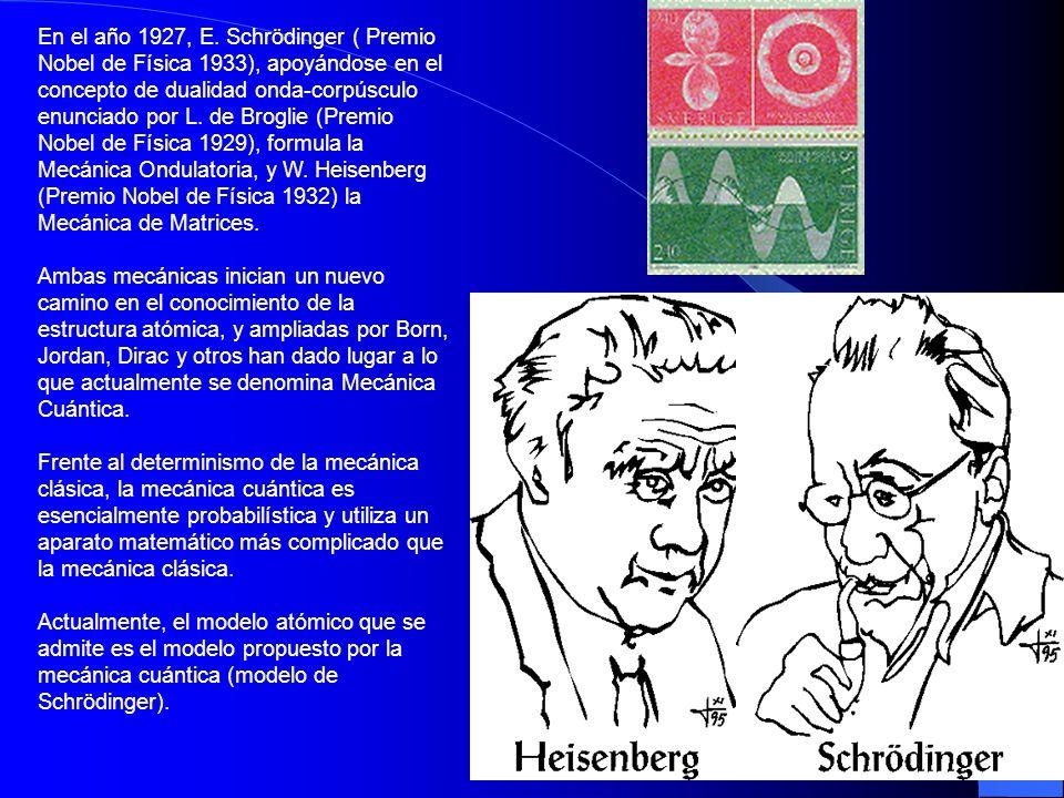 En el año 1927, E. Schrödinger ( Premio Nobel de Física 1933), apoyándose en el concepto de dualidad onda-corpúsculo enunciado por L. de Broglie (Premio Nobel de Física 1929), formula la Mecánica Ondulatoria, y W. Heisenberg (Premio Nobel de Física 1932) la Mecánica de Matrices.