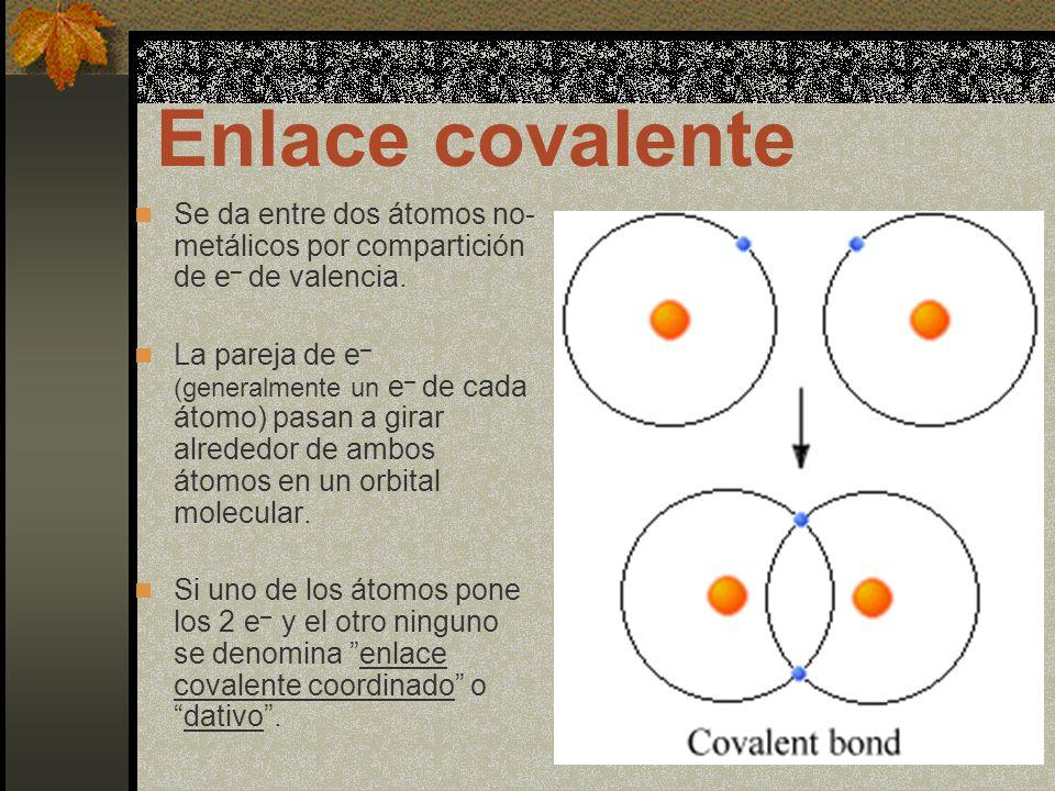 Enlace covalente Se da entre dos átomos no-metálicos por compartición de e– de valencia.
