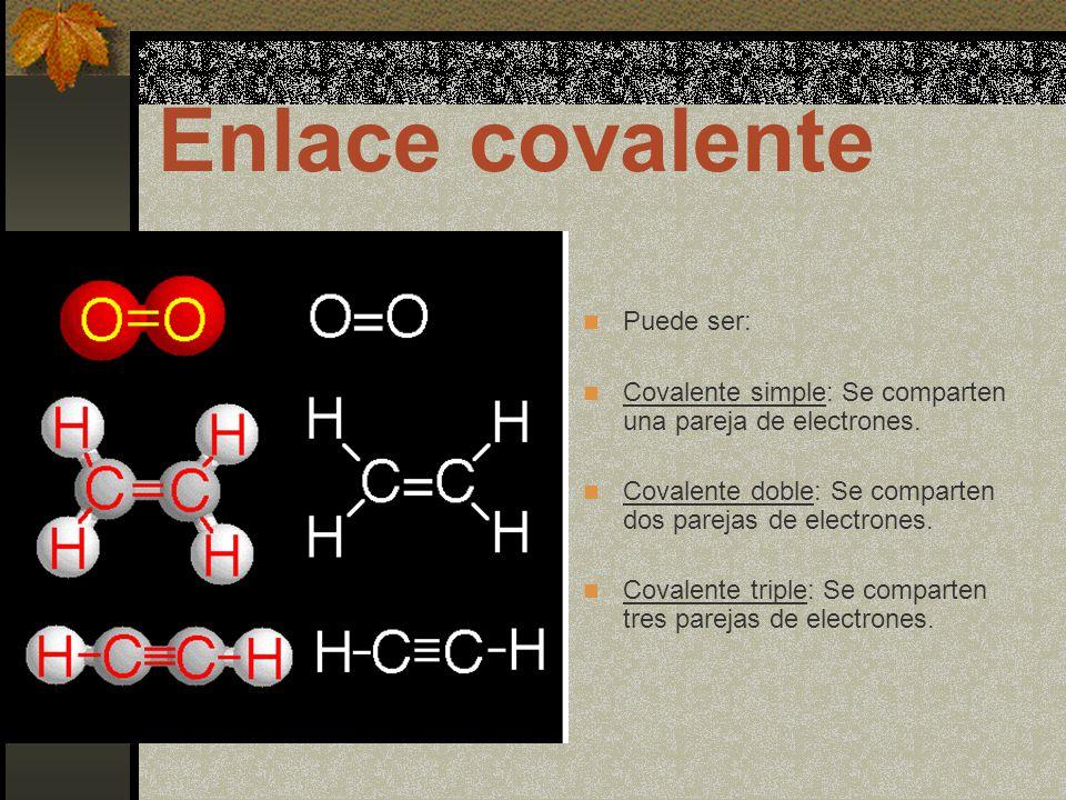 Enlace covalente Puede ser: