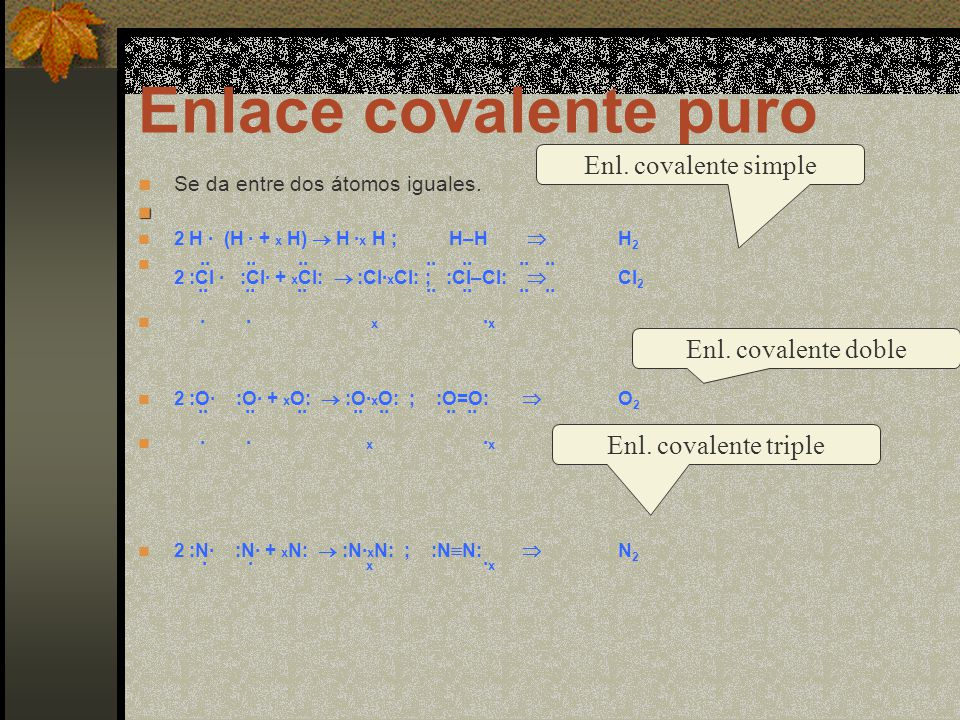 Enlace covalente puro Enl. covalente simple Enl. covalente doble