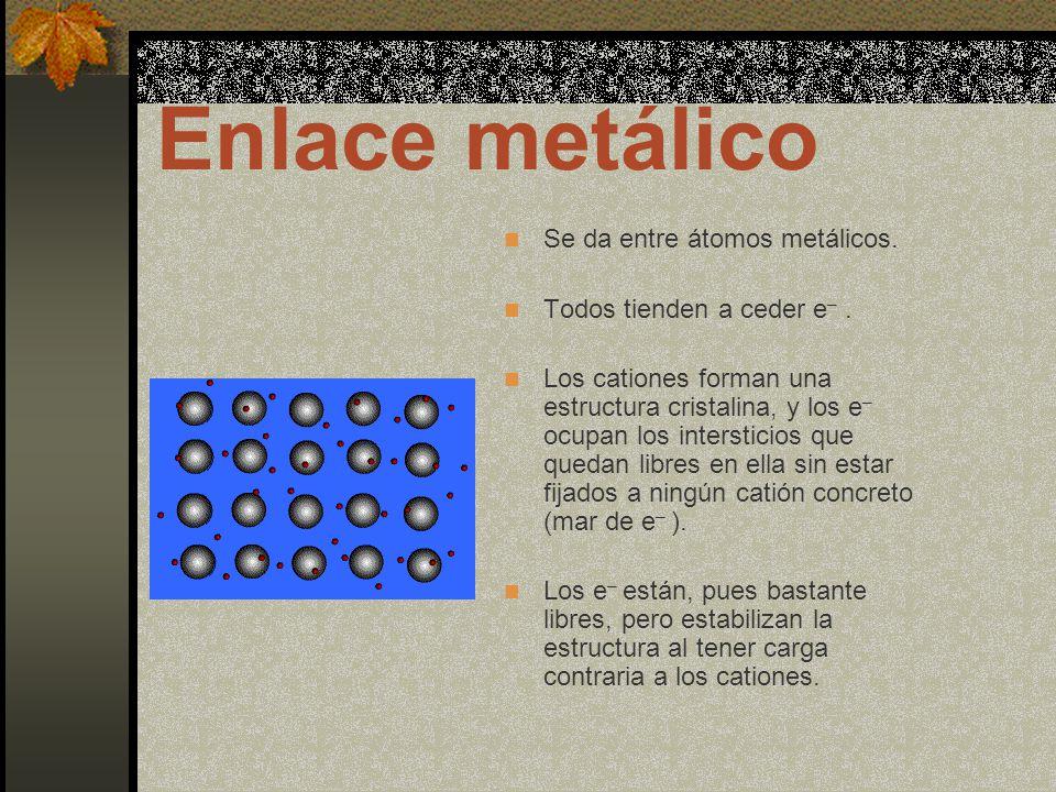 Enlace metálico Se da entre átomos metálicos.