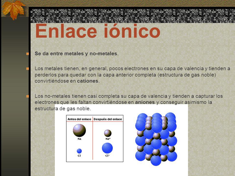 Enlace iónico Se da entre metales y no-metales.