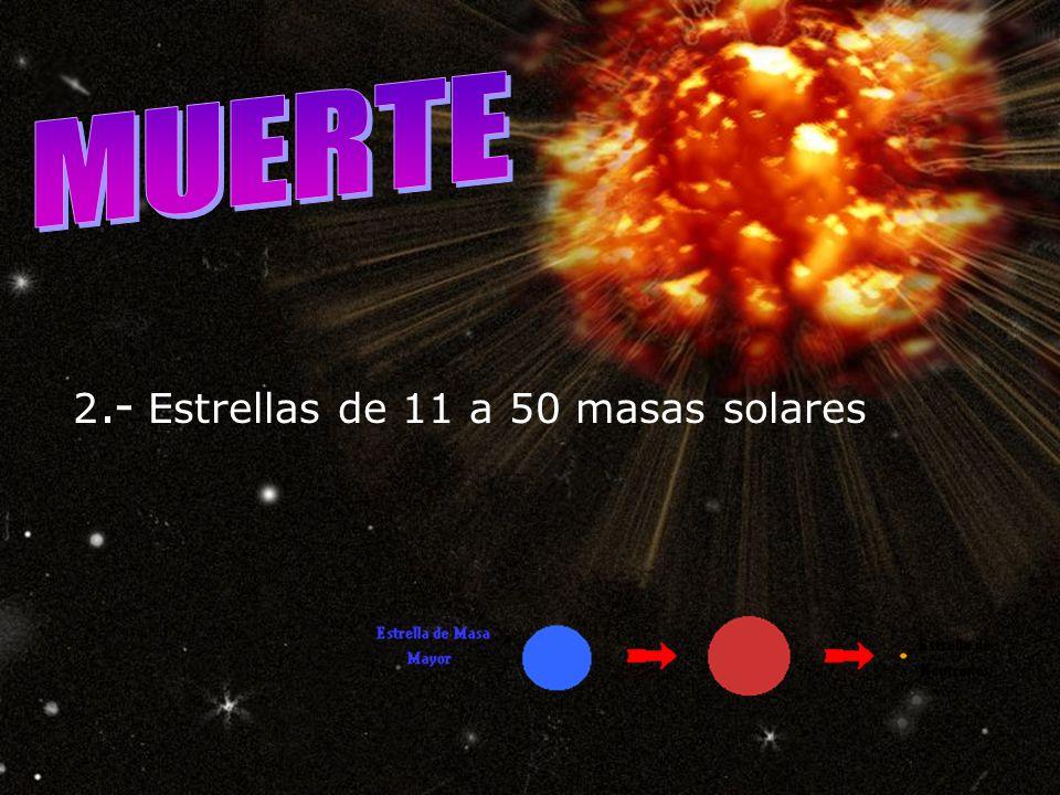 MUERTE 2.- Estrellas de 11 a 50 masas solares