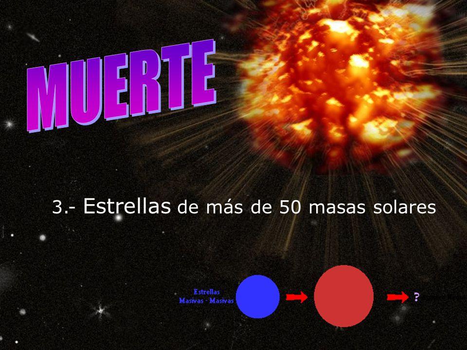 MUERTE 3.- Estrellas de más de 50 masas solares