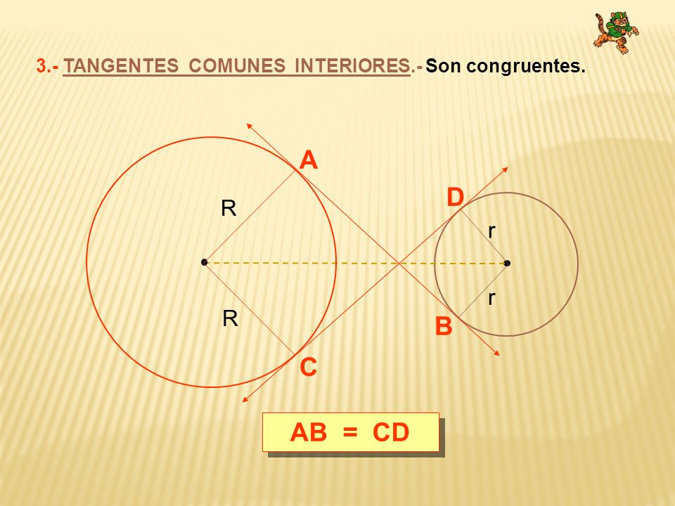 3.- TANGENTES COMUNES INTERIORES.- Son congruentes.