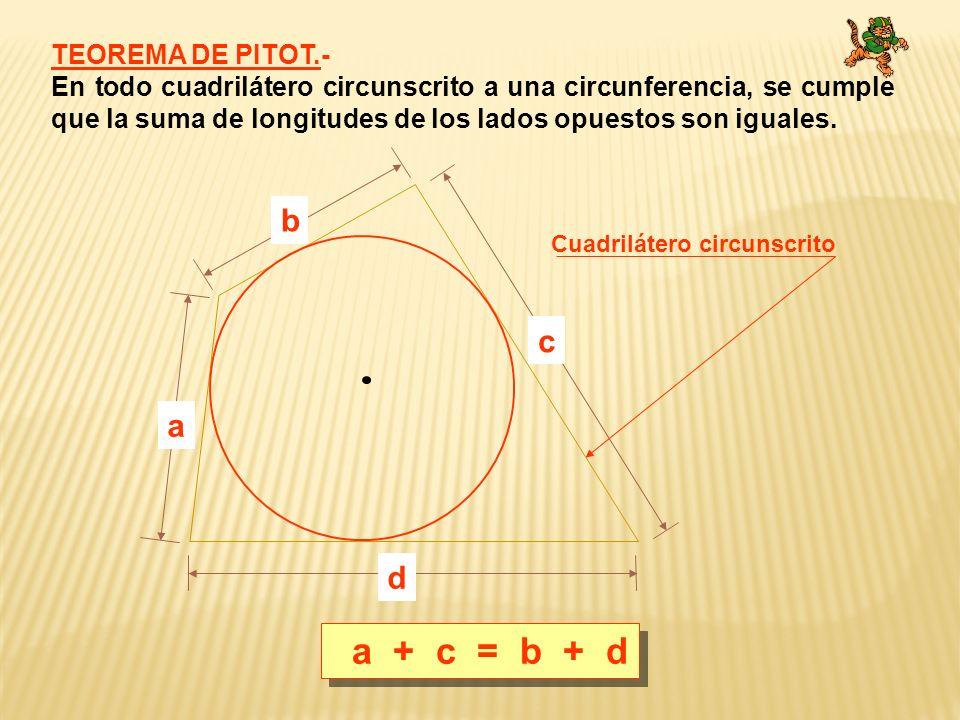 a + c = b + d b c a d TEOREMA DE PITOT.-
