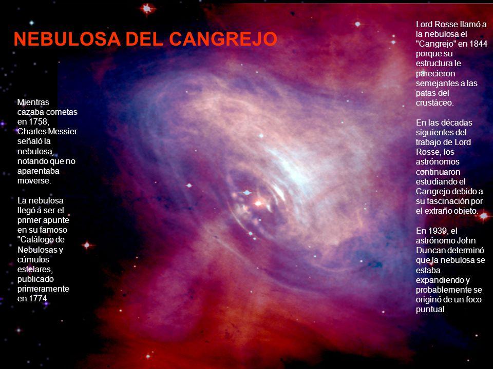 Lord Rosse llamó a la nebulosa el Cangrejo en 1844 porque su estructura le parecieron semejantes a las patas del crustáceo.
