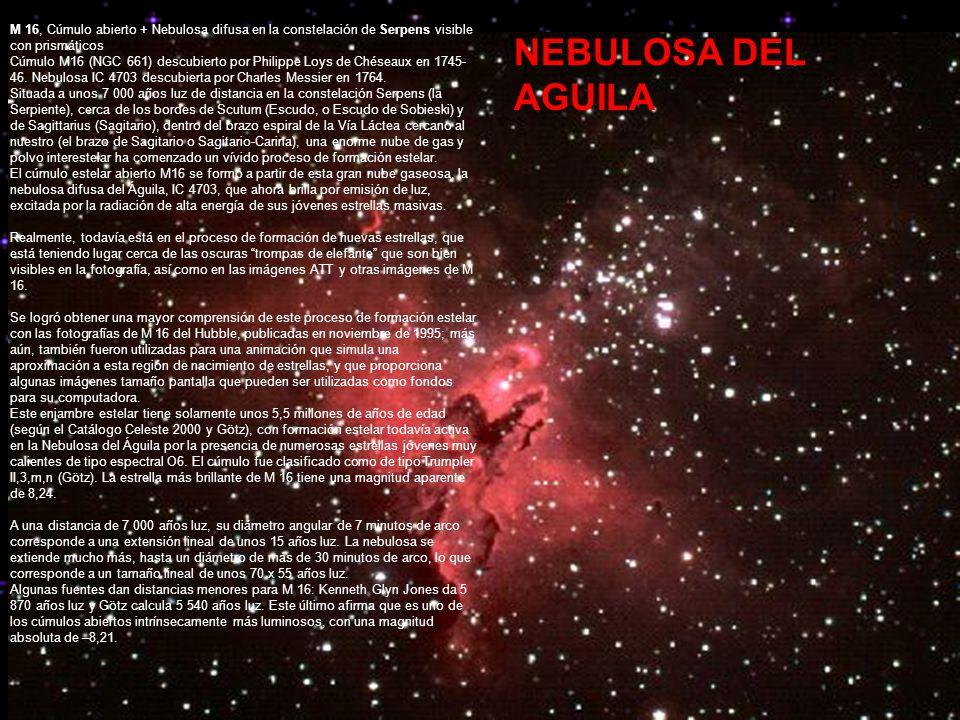 M 16, Cúmulo abierto + Nebulosa difusa en la constelación de Serpens visible con prismáticos