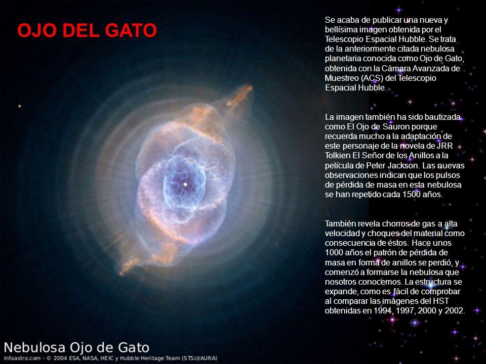 Se acaba de publicar una nueva y bellísima imagen obtenida por el Telescopio Espacial Hubble. Se trata de la anteriormente citada nebulosa planetaria conocida como Ojo de Gato, obtenida con la Cámara Avanzada de Muestreo (ACS) del Telescopio Espacial Hubble.