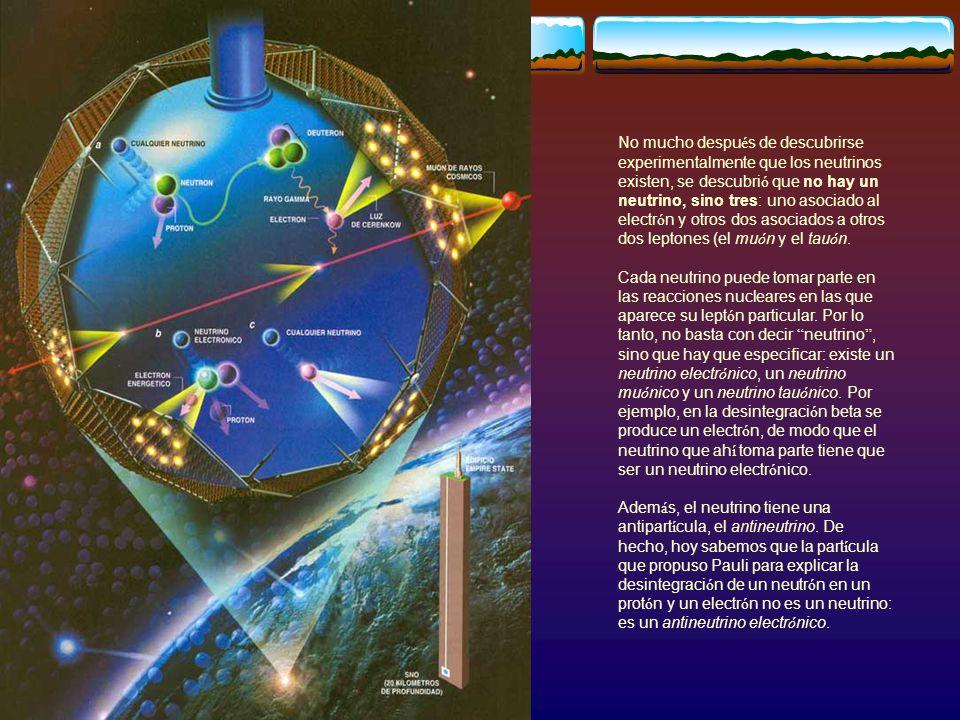 No mucho después de descubrirse experimentalmente que los neutrinos existen, se descubrió que no hay un neutrino, sino tres: uno asociado al electrón y otros dos asociados a otros dos leptones (el muón y el tauón.