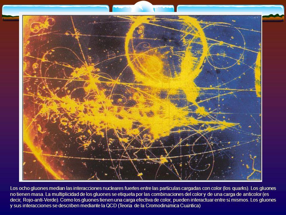 Los ocho gluones median las interacciones nucleares fuertes entre las partículas cargadas con color (los quarks).