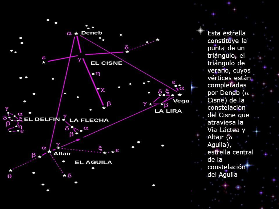 Esta estrella constituye la punta de un triángulo, el triángulo de verano, cuyos vértices están completadas por Deneb ( Cisne) de la constelación del Cisne que atraviesa la Vía Láctea y Altair ( Aguila), estrella central de la constelación del Aguila