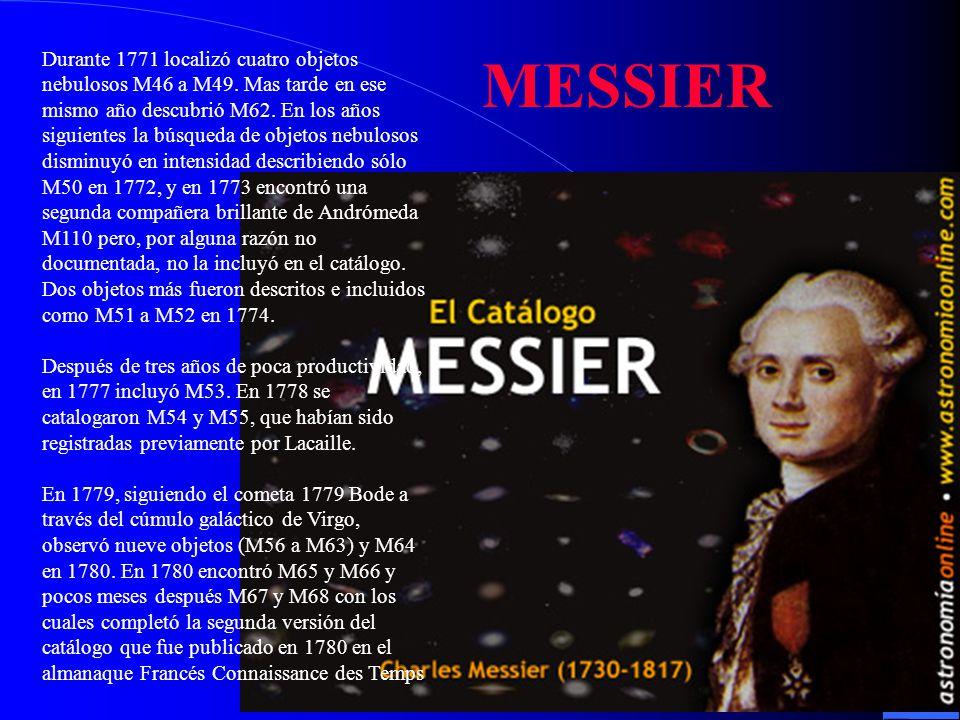 Durante 1771 localizó cuatro objetos nebulosos M46 a M49