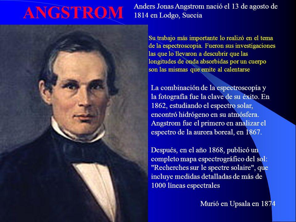 ANGSTROM Anders Jonas Angstrom nació el 13 de agosto de 1814 en Lodgo, Suecia.