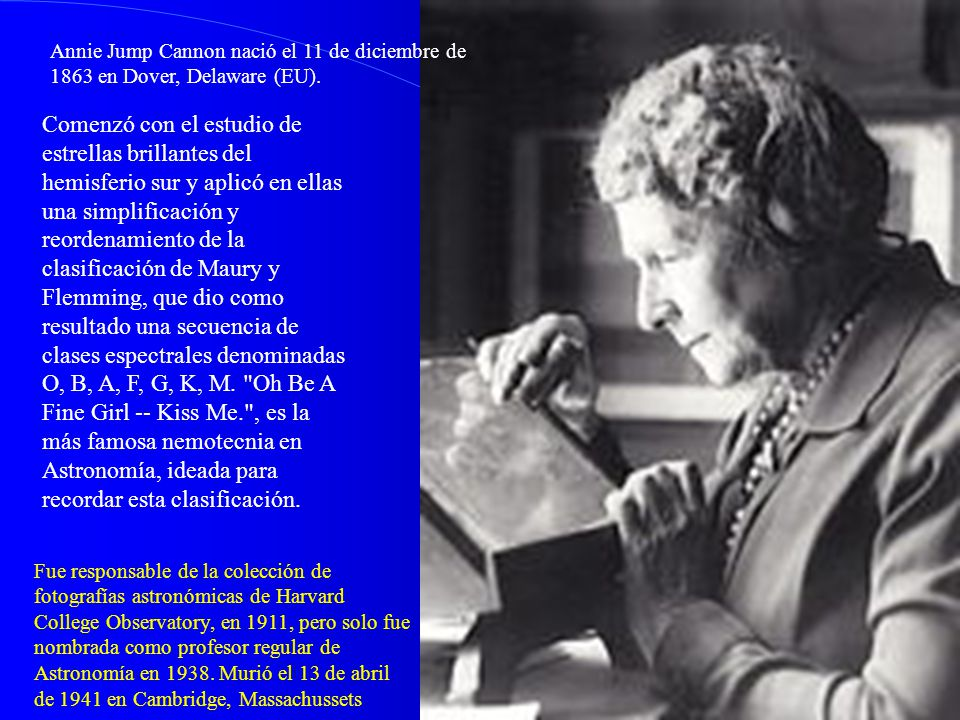 Annie Jump Cannon nació el 11 de diciembre de 1863 en Dover, Delaware (EU).
