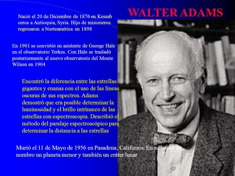 WALTER ADAMS Nació el 20 de Diciembre de 1876 en Kessab cerca a Antioquia, Syria. Hijo de misioneros regresaron a Norteamérica en 1898.