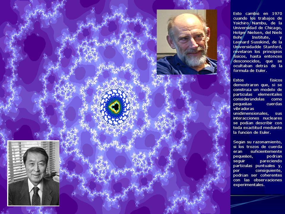 Esto cambió en 1970 cuando los trabajos de Yoichiro Nambu, de la Universidad de Chicago, Holger Nielsen, del Niels Bohr Institute, y Leonard Susskind, de la Universidadde Stanford, revelaron los principios físicos, hasta entonces desconocidos, que se ocultaban detrás de la fórmula de Euler.