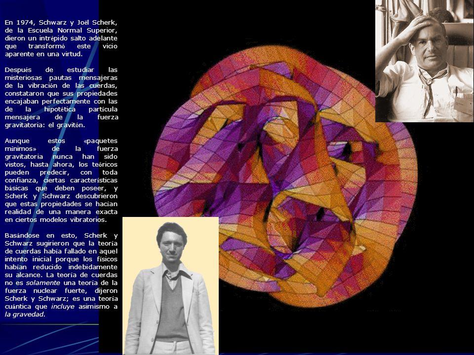 En 1974, Schwarz y Joël Scherk, de la Escuela Normal Superior, dieron un intrépido salto adelante que transformó este vicio aparente en una virtud.
