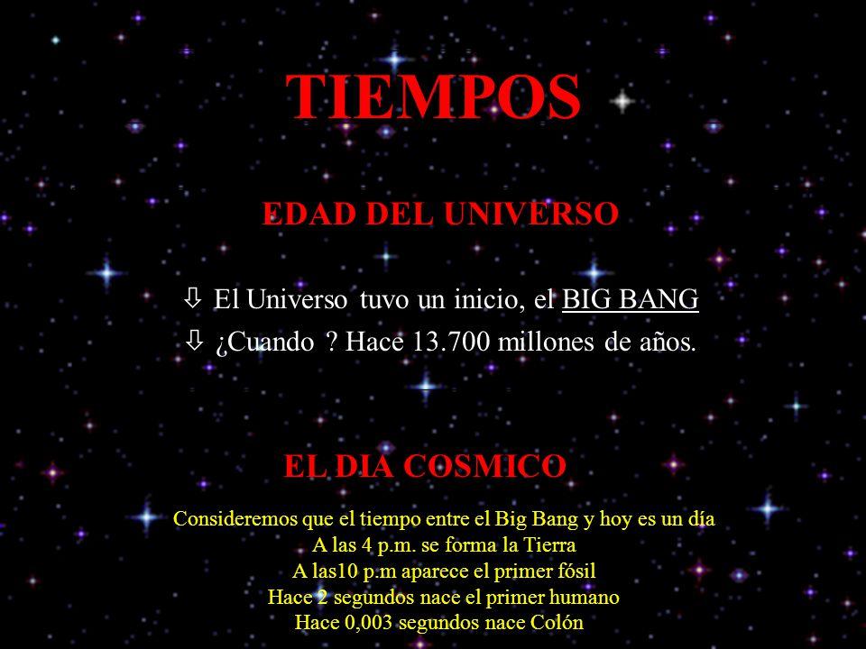 TIEMPOS EDAD DEL UNIVERSO EL DIA COSMICO