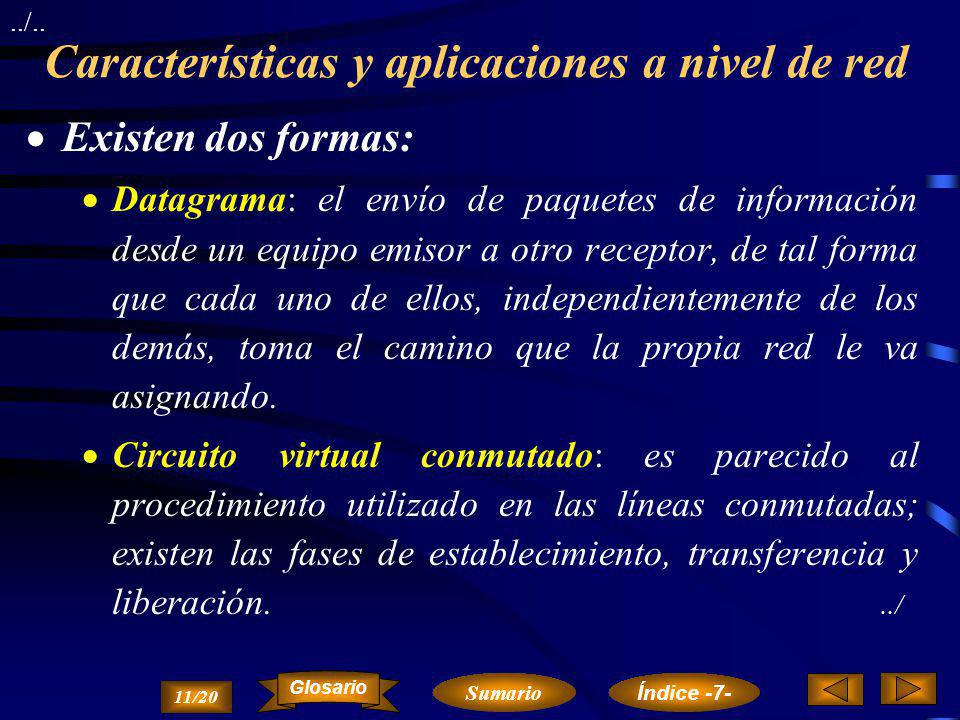 Características y aplicaciones a nivel de red