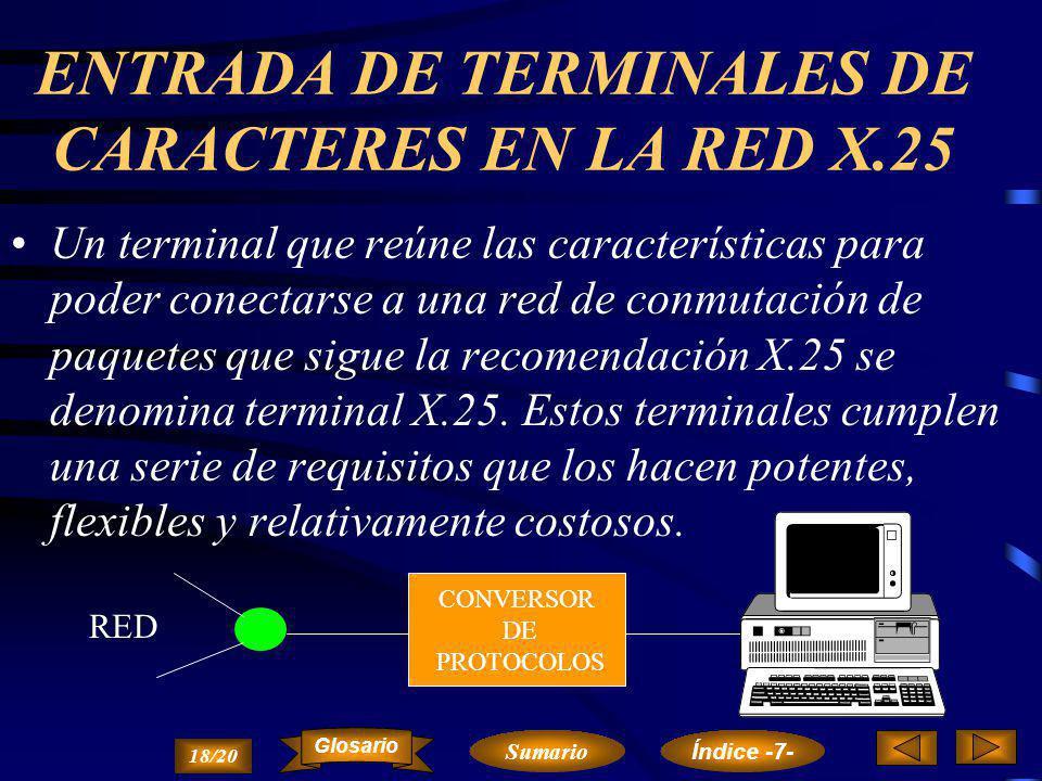 ENTRADA DE TERMINALES DE CARACTERES EN LA RED X.25