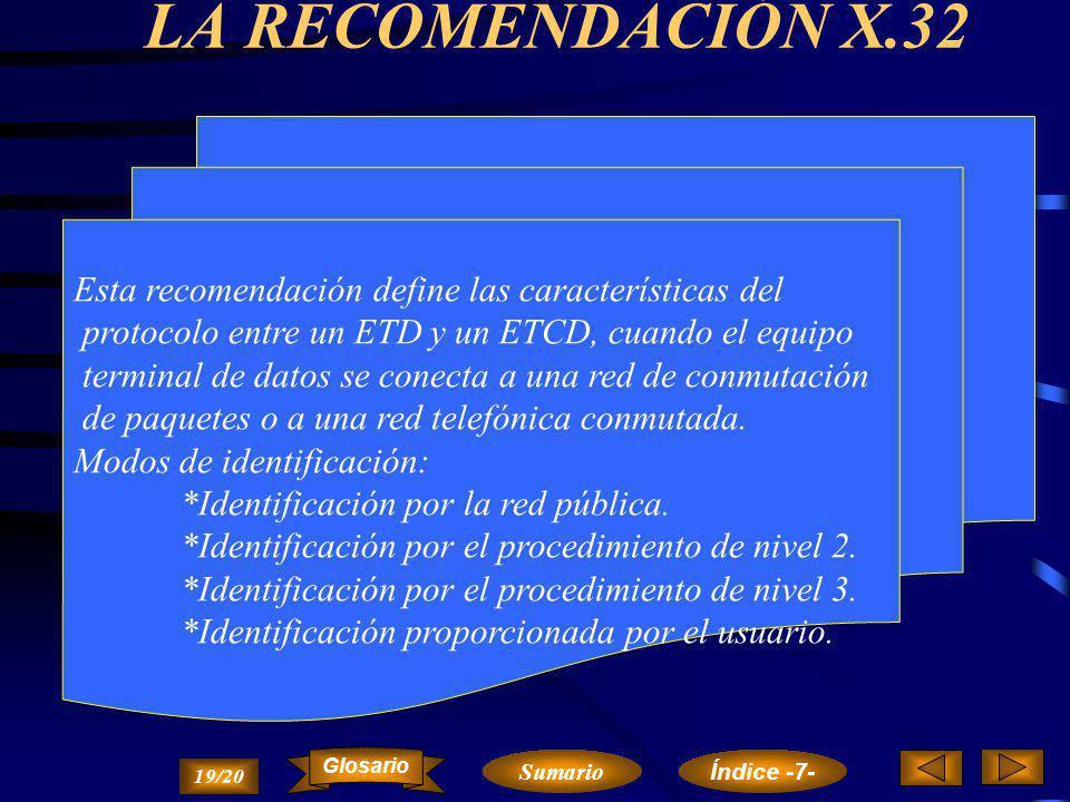 LA RECOMENDACIÓN X.32 Esta recomendación define las características del. protocolo entre un ETD y un ETCD, cuando el equipo.