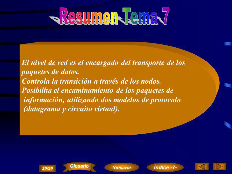 Resumen Tema 7 El nivel de red es el encargado del transporte de los