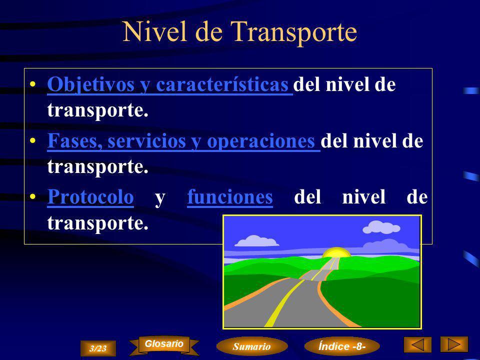 Nivel de Transporte Objetivos y características del nivel de transporte. Fases, servicios y operaciones del nivel de transporte.