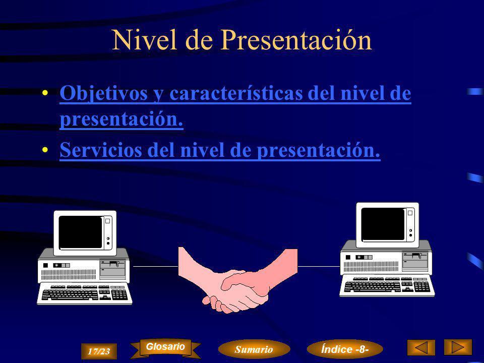 Nivel de Presentación Objetivos y características del nivel de presentación. Servicios del nivel de presentación.