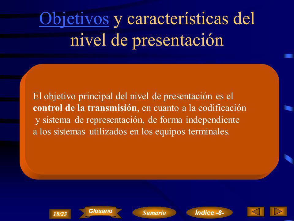 Objetivos y características del nivel de presentación