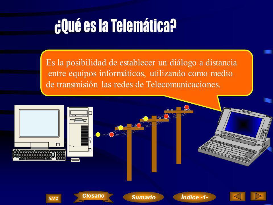 ¿Qué es la Telemática Es la posibilidad de establecer un diálogo a distancia. entre equipos informáticos, utilizando como medio.