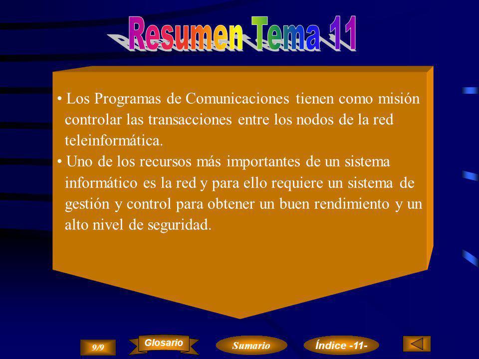 Resumen Tema 11 Los Programas de Comunicaciones tienen como misión
