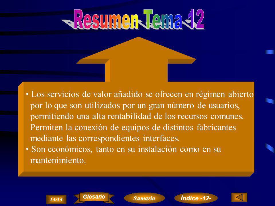Resumen Tema 12 Los servicios de valor añadido se ofrecen en régimen abierto. por lo que son utilizados por un gran número de usuarios,