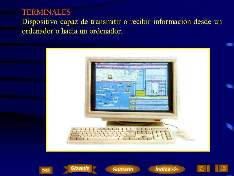 TERMINALES Dispositivo capaz de transmitir o recibir información desde un ordenador o hacia un ordenador.
