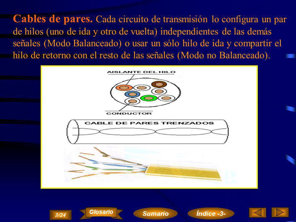 Cables de pares. Cada circuito de transmisión lo configura un par de hilos (uno de ida y otro de vuelta) independientes de las demás señales (Modo Balanceado) o usar un sólo hilo de ida y compartir el hilo de retorno con el resto de las señales (Modo no Balanceado).