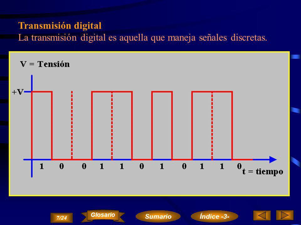 La transmisión digital es aquella que maneja señales discretas.