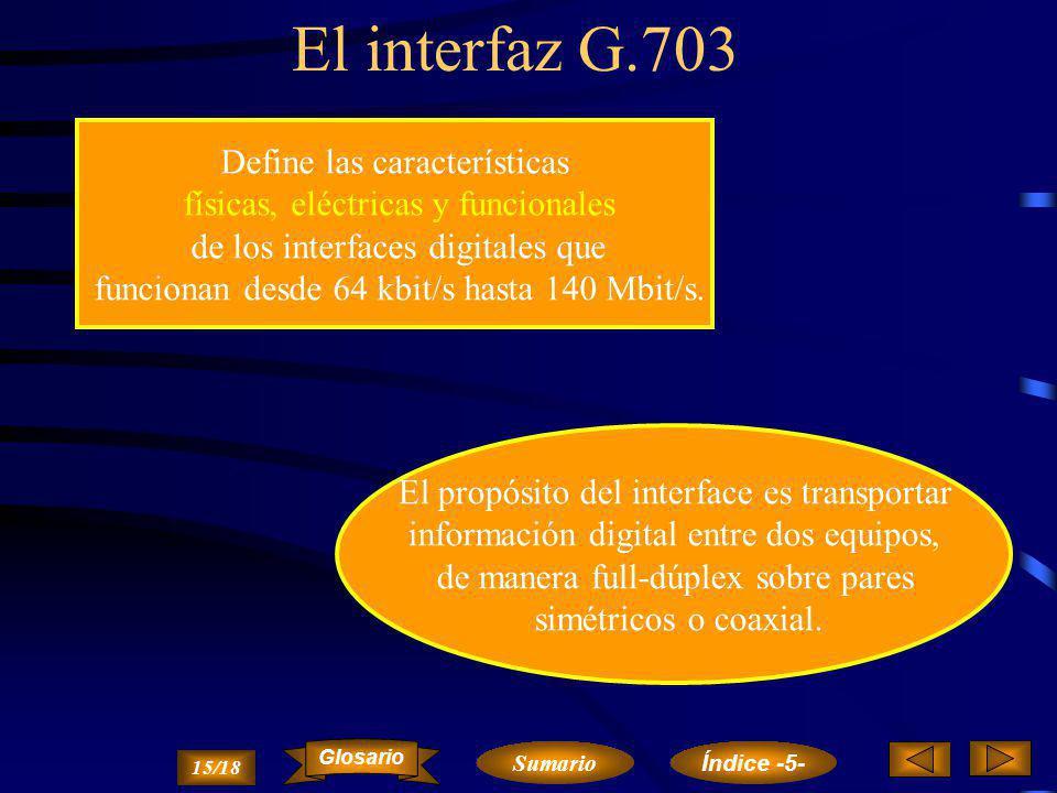 El interfaz G.703 Define las características