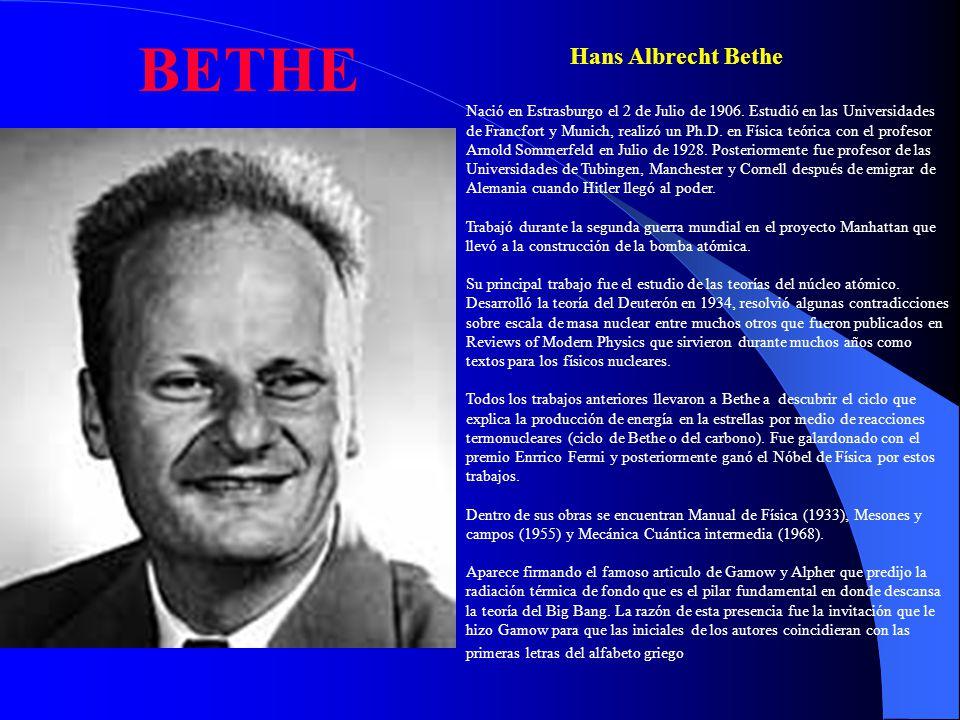 BETHE Hans Albrecht Bethe
