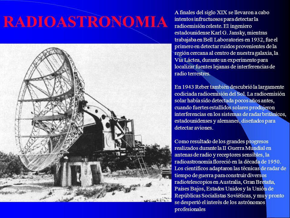 A finales del siglo XIX se llevaron a cabo intentos infructuosos para detectar la radioemisión celeste. El ingeniero estadounidense Karl G. Jansky, mientras trabajaba en Bell Laboratories en 1932, fue el primero en detectar ruidos provenientes de la región cercana al centro de nuestra galaxia, la Vía Láctea, durante un experimento para localizar fuentes lejanas de interferencias de radio terrestres. En 1943 Reber también descubrió la largamente codiciada radioemisión del Sol. La radioemisión solar había sido detectada pocos años antes, cuando fuertes estallidos solares produjeron interferencias en los sistemas de radar británicos, estadounidenses y alemanes, diseñados para detectar aviones. Como resultado de los grandes progresos realizados durante la II Guerra Mundial en antenas de radio y receptores sensibles, la radioastronomía floreció en la década de 1950. Los científicos adaptaron las técnicas de radar de tiempo de guerra para construir diversos radiotelescopios en Australia, Gran Bretaña, Países Bajos, Estados Unidos y la Unión de Repúblicas Socialistas Soviéticas, y muy pronto se despertó el interés de los astrónomos profesionales