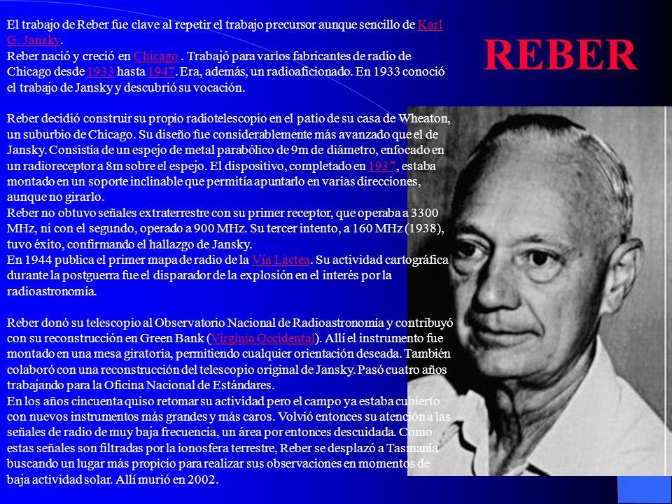 El trabajo de Reber fue clave al repetir el trabajo precursor aunque sencillo de Karl G. Jansky.