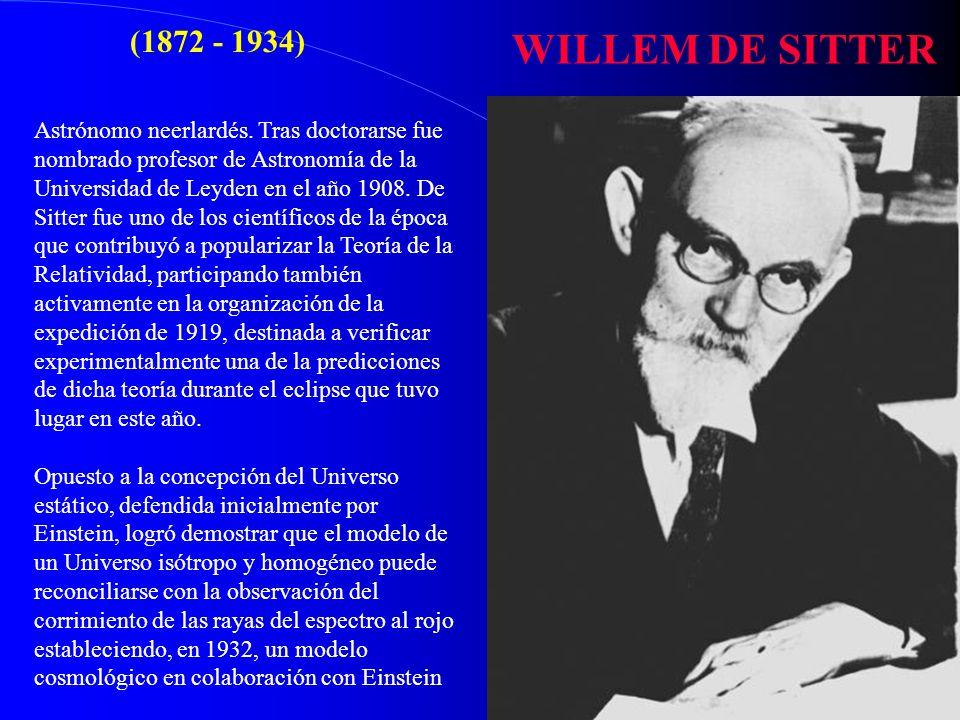WILLEM DE SITTER (1872 - 1934)