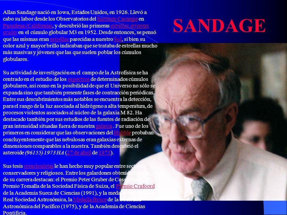 Allan Sandage nació en Iowa, Estados Unidos, en 1926