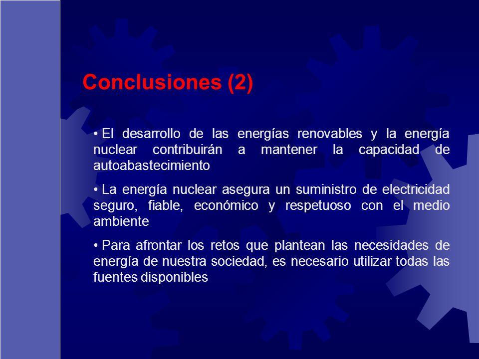 Conclusiones (2) El desarrollo de las energías renovables y la energía nuclear contribuirán a mantener la capacidad de autoabastecimiento.