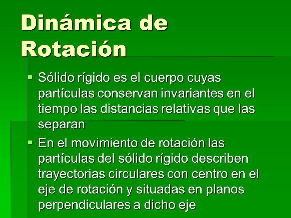 Dinámica de Rotación Sólido rígido es el cuerpo cuyas partículas conservan invariantes en el tiempo las distancias relativas que las separan.
